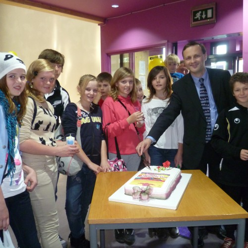 Steve Webb, Local MP, meets young carers at the Health and Wellbeing Day in Yate.