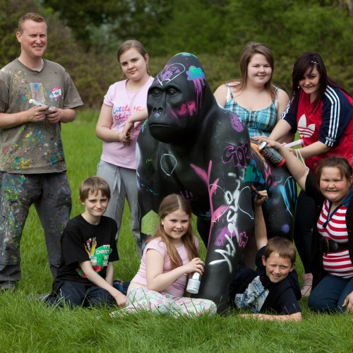 Winston the Gorilla; designed and decorated by young carers and local artist, Matt Gillis.