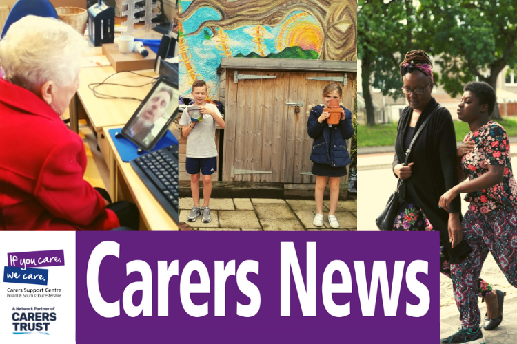 Carers News: three pictures of an older woman using a tablet, two young carers in a garden and a carer walking with her teenage daughter in the street.
